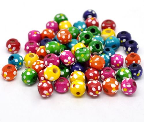 Assorted Coloured Round Wood Beads with Spots 10x9mm